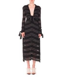 Long-Sleeve Pinstriped Gauzy Crepe Midi Dress, Black/White