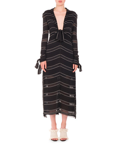 Proenza Schouler Long-Sleeve Pinstriped Gauzy Crepe Midi Dress,