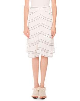 Gathered Pinstripe Skirt, White/Blue