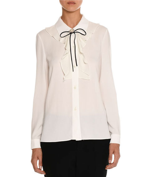 Ruffle-Front Tie-Neck Blouse, White