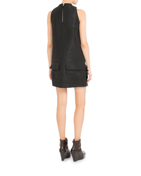 Mock-Neck Double-Pocket Shift Dress, Black
