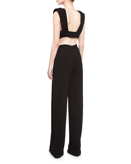 Plunging V-Neck Jumpsuit, Black
