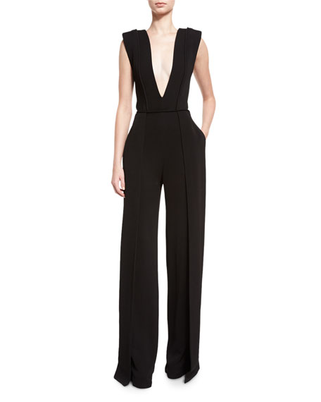 Brandon Maxwell Plunging V-Neck Jumpsuit, Black