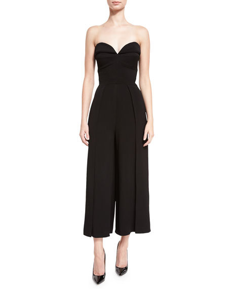 Cropped-Leg Bustier Jumpsuit, Black