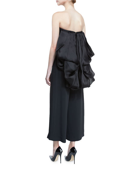 Strapless Silk Organza Top w/Back Bustle, Black