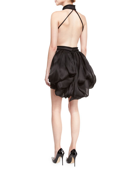 Silk Organza Halter Dress w/Back Bustle, Black