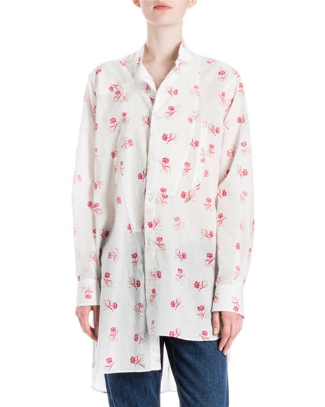 Long Asymmetric Floral-Print Blouse, White