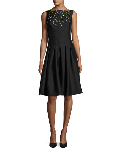 Jewel-Embellished Faille Cocktail Dress, Black/Multi