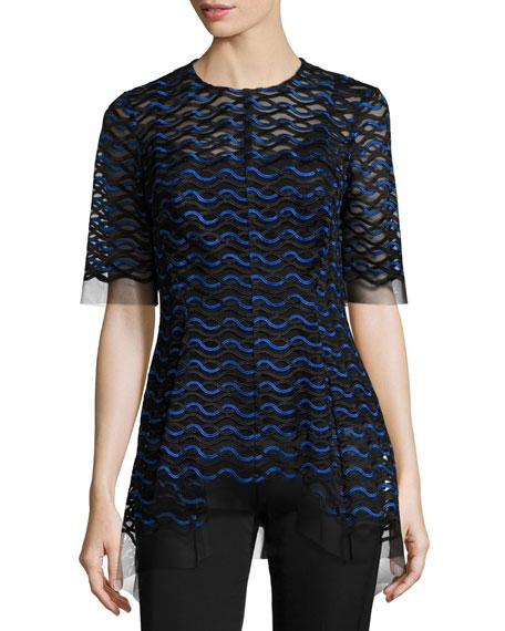 Wavy-Illusion Half-Sleeve Top, Black/Lapis