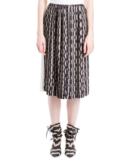 Floral Wave-Print Combo Skirt, Black