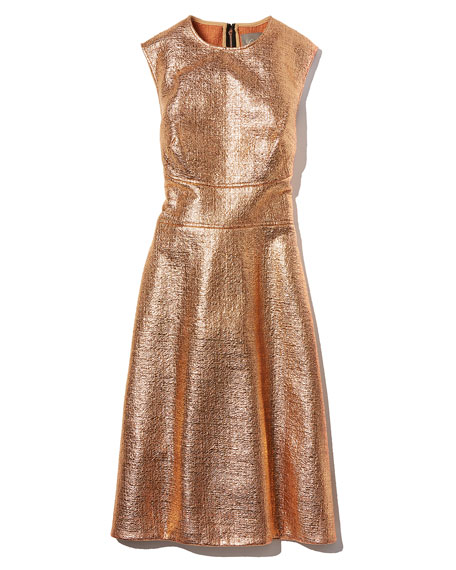 Metallic Tweed-Print A-Line Dress, Copper