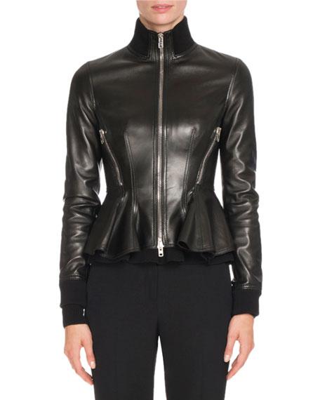 Leather Peplum Jacket w/Knit Trim, Black