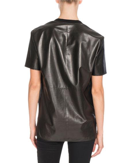 Short-Sleeve V-Neck Leather Tee, Black