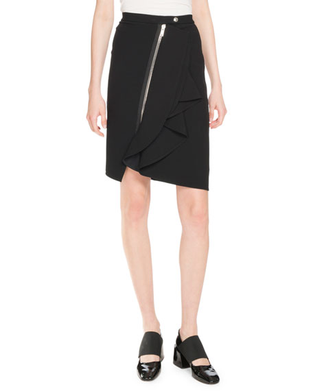 Cascading Jersey Crepe Skirt, Black