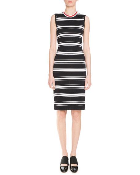 Sleeveless Striped Midi Dress, Black/White