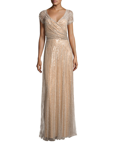 Beaded Wrap-Front Cap-Sleeve Gown, Taupe
