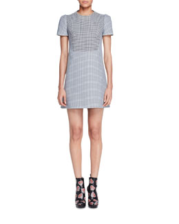 Short-Sleeve Houndstooth Tweed Dress, Black/White