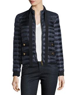 Pavottine Quilted Zip-Front Jacket, Navy