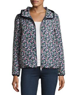 Vive Floral-Print Hooded Jacket, Blue Pattern