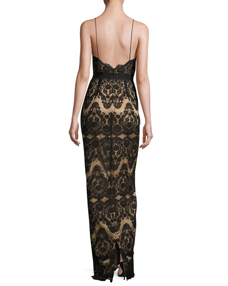 Two-Tone Lace Column Gown, Black/Almond
