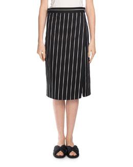 Striped Wrap Skirt, Black/White
