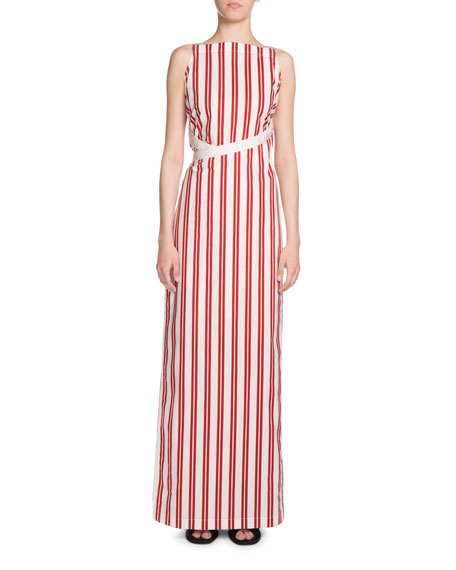 Striped Apron Maxi Dress, Red/White