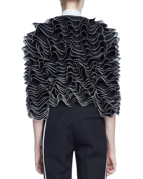 Ruffled Knit Cardigan, Black