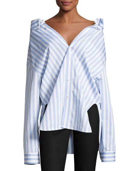 Striped Swing-Back Blouse, Light Blue/White