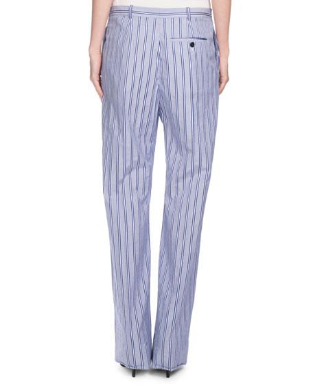 Striped Wide-Leg Cotton Pants, Blue/White