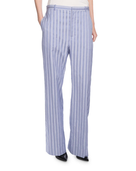 Striped Wide-Leg Cotton Pants, Blue/White