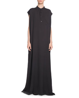 Mandarin-Collar Silk Crepe Maxi Dress, Anthracite