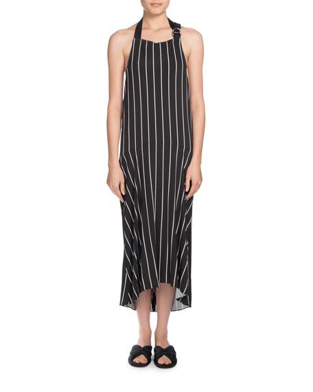 Striped Halter Apron Midi Dress, Black/White