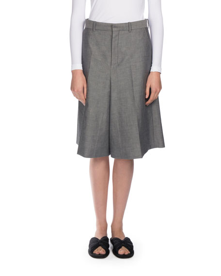 Balenciaga Wide-Leg Chambray Suiting Shorts, Gray