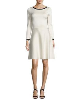 Long-Sleeve Two-Tone Dress, Ivory/Black