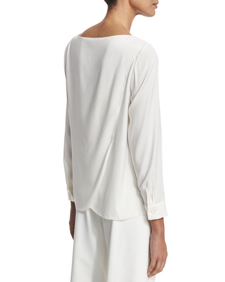Tulip-Back Silk Blouse, Ivory