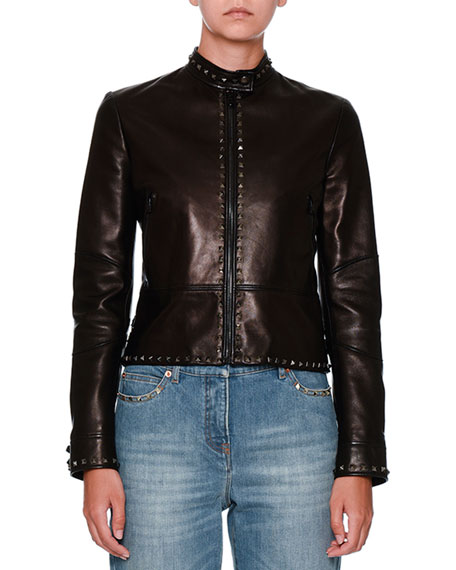 Untitled Rockstud Leather Biker Jacket, Black