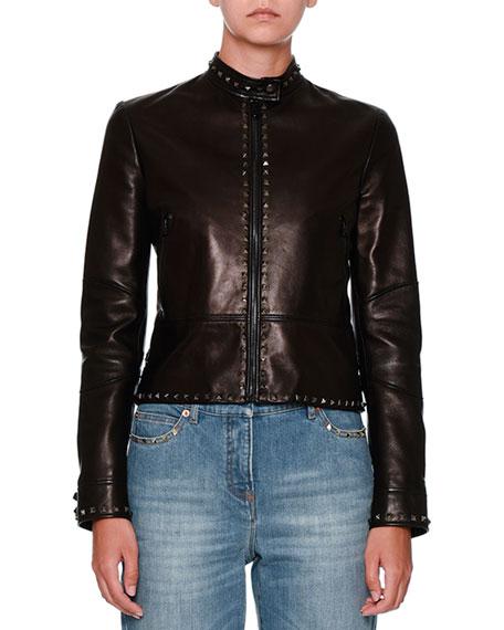 Untitled Rockstud Leather Biker Jacket, Black
