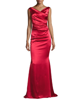 Kombo Sleeveless Draped Satin Gown, Red