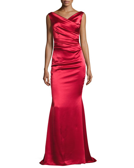 talbot runhof kombo sleeveless draped satin gown red. Black Bedroom Furniture Sets. Home Design Ideas