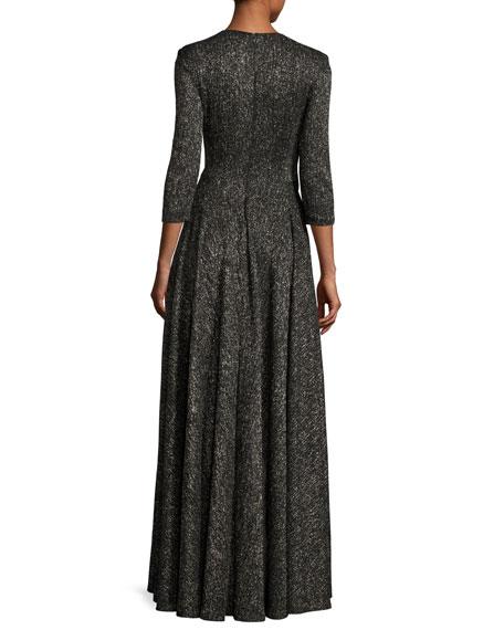 Koro Laminated Voile Wrap-Front Gown, Black Metallic