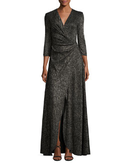 Koro Laminated Voile Wrap-Front Gown, Black Metallic