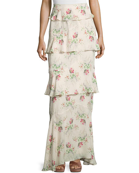 Tiered Flower Cloud-Print Maxi Skirt, Cream/Multi