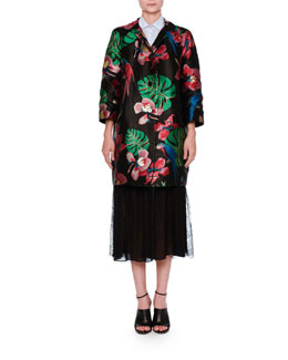 Bracelet-Sleeve Brocade Coat, Black/Multi