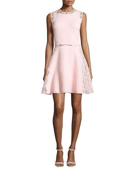 Sleeveless Lace-Trim A-Line Dress, Pink