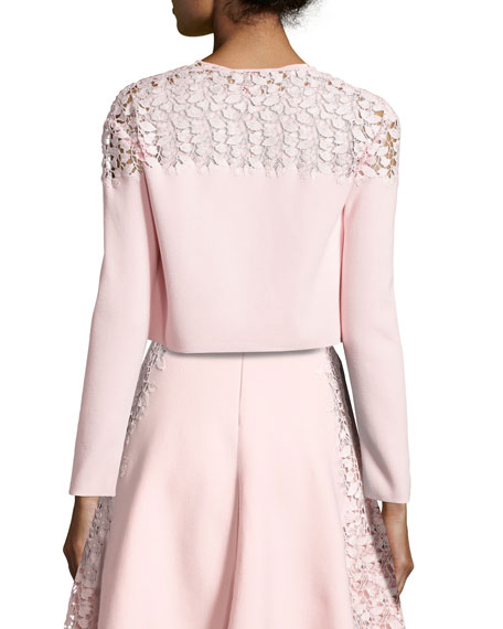 Lace-Trim Cropped Cardigan, Pink