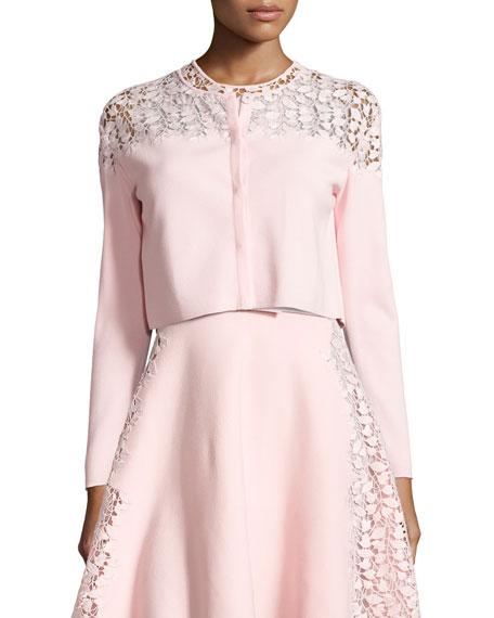 Lace-Trim Cropped Cardigan, Pink