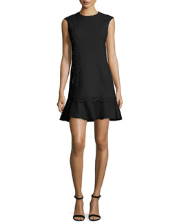Lace-Trim Cady Drop-Waist Dress, Black