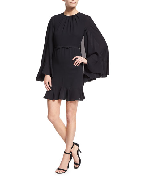 Pleated Cape-Back Silk Dress, Black