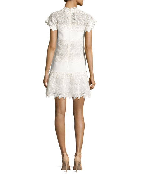 Cap-Sleeve Guipure Lace Dress, White