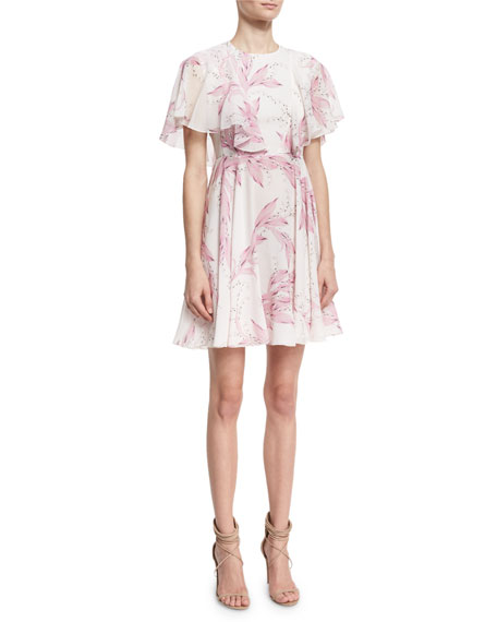 Lily-Print Flutter-Sleeve Dress, White/Pink